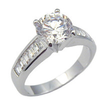Silver Tone 2 CTS Solitaire with Baguette CZ Engagement Ring - SIZE 7 (last 1) image 2