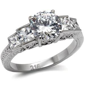 Antique Inspired Five Stone Cubic Zirconia Engagement Ring  - SIZE 5 to 10 image 2
