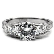 Antique Inspired Five Stone Cubic Zirconia Engagement Ring  - SIZE 5 to 10 image 4