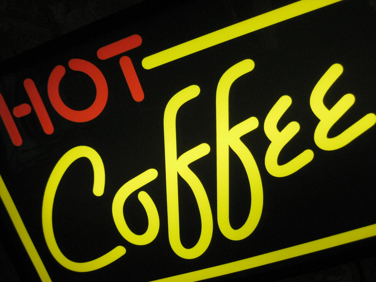 "Primary image for LIGHTED ""HOT COFFEE"" DISPLAY SIGN Yellow & Red"