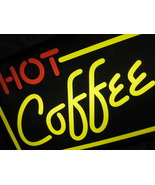 """LIGHTED """"HOT COFFEE"""" DISPLAY SIGN Yellow & Red - $120.00"""