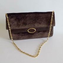 Vintage Womens Purse Embossed Brown Velvet Goldtone Chain Italy - $39.59