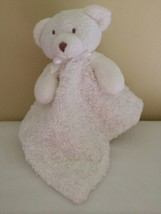 Blankets and Beyond Teddy Bear Security Baby Lovey White Bow Brown Eyes - $34.65