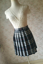 Girl BLACK and WHITE Plaid Skirt School Pleated Plaid Skirts Plus Size wt32 image 4