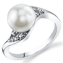 Sterling Silver 8.5mm Button Shape Freshwater White Pearl Ring - $59.99
