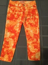 Size 5 Crystal Vogue jeans skinny orange camouflage Girls  - $14.99