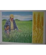 Black Farmer Dad shows Son their Wheat Field - Vintage David C Cook Art ... - $10.80