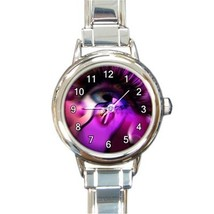 Ladies Round Italian Charm Watch Ox Eye Magic Purple Gift model 30219905 - $11.99