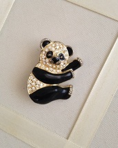 Vintage Black Enamel Crystal Rhinestone Panda Fashion Brooch - $25.00