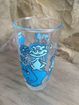Vintage 6 in tall Blue Zoo Sour Cream Pt Glass  Lion Giraffe Hippo Frog ... - $6.99