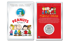Peanuts Snoopy w Christmas Tree OFFICIAL JFK Half Dollar Coin in PREMIUM... - $10.35