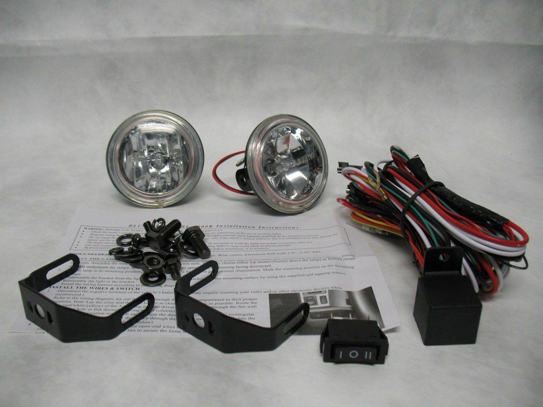 Hella Optilux 1472 Fog Lamps Lights Kit Universal Black Rectangular Blue Lens Auto Parts Accessories Car Truck Lighting Lamps