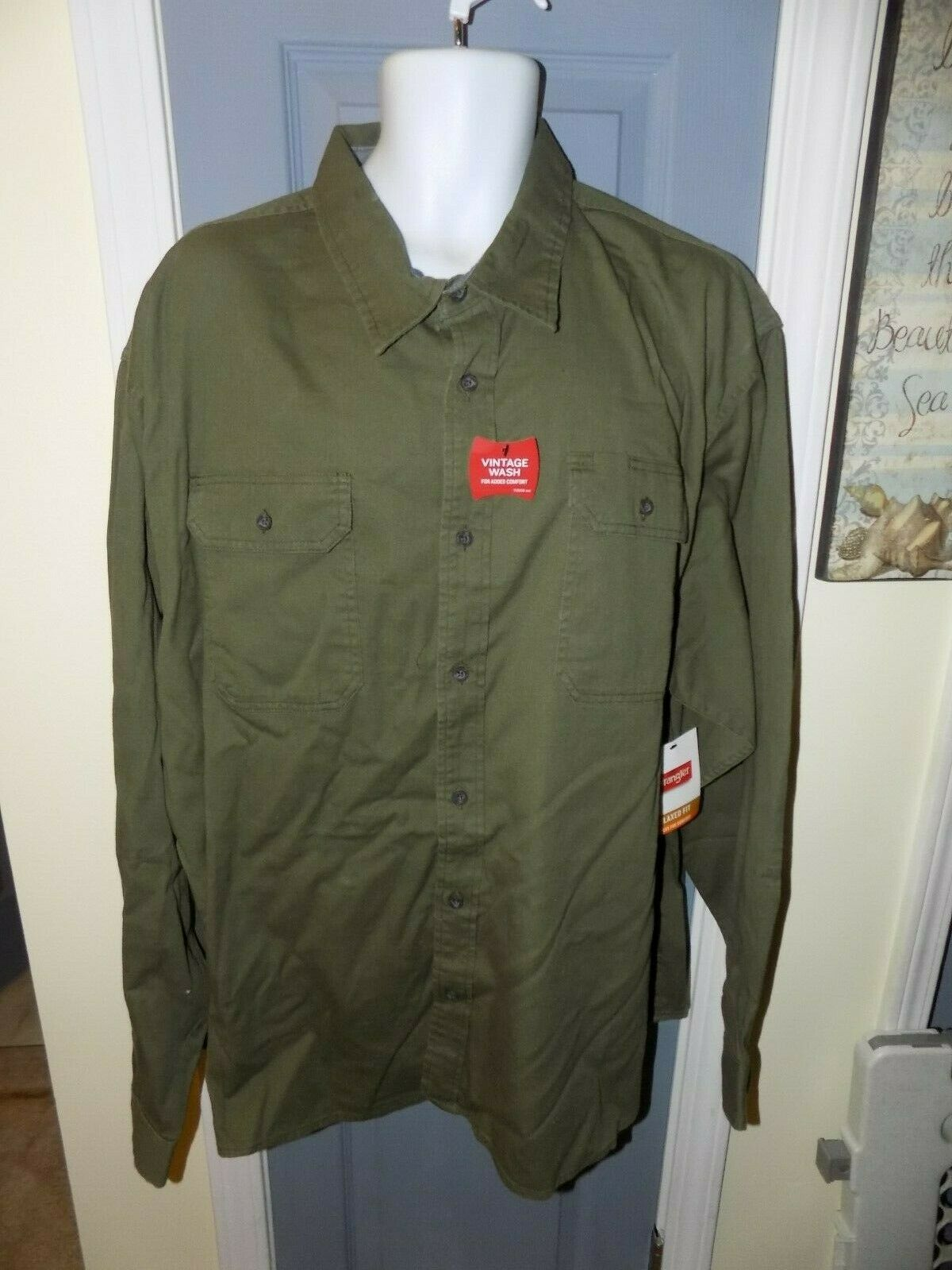 Primary image for Wrangler Flex For Comfort Green Long Sleeve Button Down Shirt Size 3XL Men's