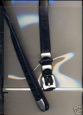 "Black Genuine Leather Belt [reptile] 45"""