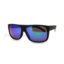 Classic Square Sunglasses Soft Matte Black Frame Multicolor Mirror Lens - $9.95