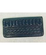 Tooled Leather Belt Bullet Holder Black Holds 12 Bullets Geo F Cake Co W... - $22.28