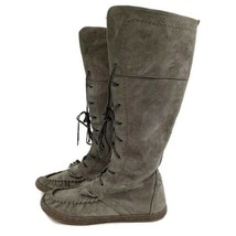 UGG Australia Gray Suede Tall Moccasin Lace Up Boot #1003313 Size 8 - $69.27