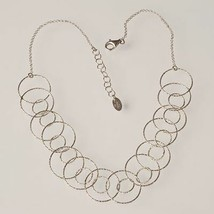 Necklace Silver 925 Rhodium with Circles Worked by Maria Ielpo Made in I... - $146.50