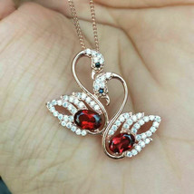 2.6 Ct Red Ruby & Diamonds Double Swan Pendant 18'' Necklace 925 Starlin... - $125.00