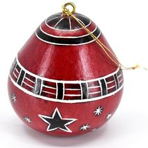 Handcrafted Carved Gourd Red Snowman Winter Ornament Made in Peru image 3