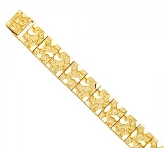 Men's 14K Yellow Gold Flat Nugget Bracelet image 3