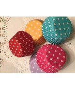Rainbow Polka Dot Cupcake Liners-3 Dozen-36 Standard Liners-5 Color Mix - $3.25