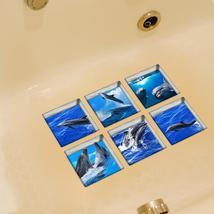 PAG 6pcs 13x13cm Dolphin Pattern 3D Anti Slip Waterproof Bathtub Sticker - $19.30