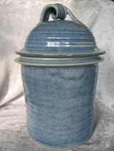 Artist Made Signed Pottery Large Storage Canister Cookie Jar - Blue - $64.40