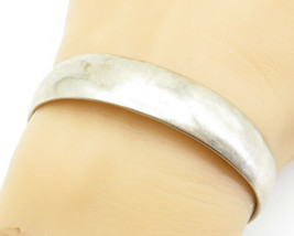 LOWER DRAPER NAVAJO 925 Silver - Vintage Shiny Minimalist Cuff Bracelet ... - $77.64