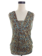 Mesh Blouse Blue and Brown LIZ and Co Size Small S - $15.00