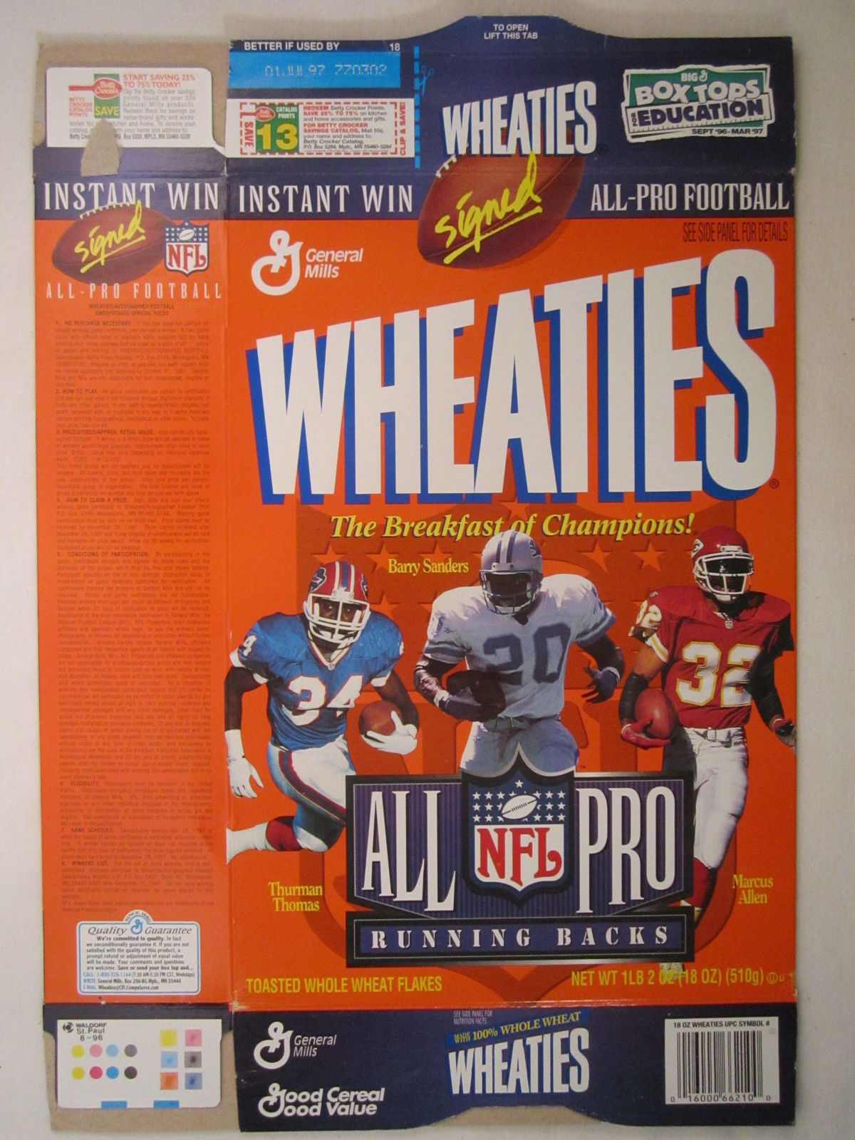 Primary image for Empty WHEATIES Box 1996 12oz ALL PRO RUNNING BACKS Thomas Sanders Allen [Z202c3]