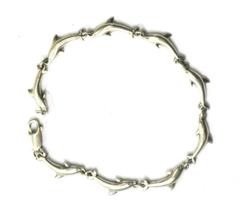 "Sterling Silver Dolphin Link Bracelet  Leaping Porpoise 6mm 7"" - $19.79"