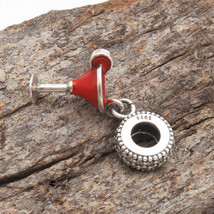 92.5 silver Pandora Cubic Zircon Red Wine Pandora Charms Bead Threaded F... - $11.99