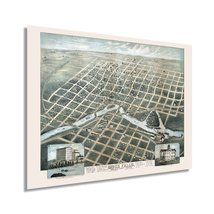 1881 Sioux Falls South Dakota Map - Vintage Sioux Falls Wall Art - Old S... - $34.99+