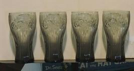 Set of 4 Brown Glass Raised Print Coke Glasses Rare 10Oz - $24.70
