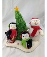 Hallmark Animated Snowman Penguins Tree Plush Decoration Happy Holidays ... - $22.45