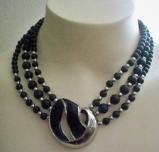 Vintage Trifari Collar Choker Enamel Inlay Silver Tone 3 Strand Beaded Necklace - $89.09