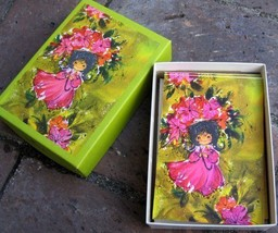 Vtg Hallmark Card Box Set Girl Black Hair Pink Umbrella Green 60s Lot Fl... - $34.19