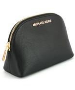 Michael Kors Jet Set Make Up Bag Case Travel Pouch Black Pebbled Leather - $128.05