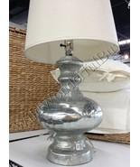 Pottery Barn Mercury Glass Table Lamp Silver 26H Base Harp Finial NIB - $169.00