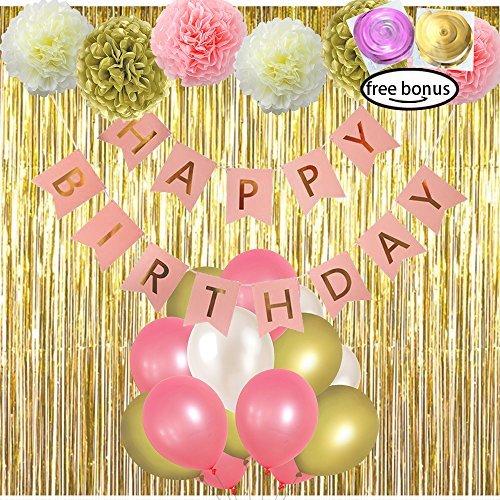 LITAUS Pink and Gold Birthday Decorations, Happy Birthday Banner, Pom Poms Flowe