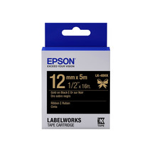 12mm Gold on Black - Epson LABELWORKS LK-4BKK Ribbon Tape Cartridges (Pack of 4) - $82.99