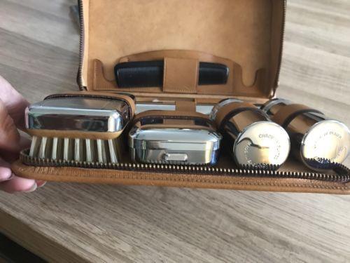 Gentleman's Vintage Real Leather Grooming Travel Set 1950s Art Deco Gift