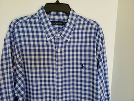 POLO RALPH LAUREN MEN'S LONG SLEEVE PLAID CHECKED BLUE SHIRT SIZE XXL NWT - $42.06