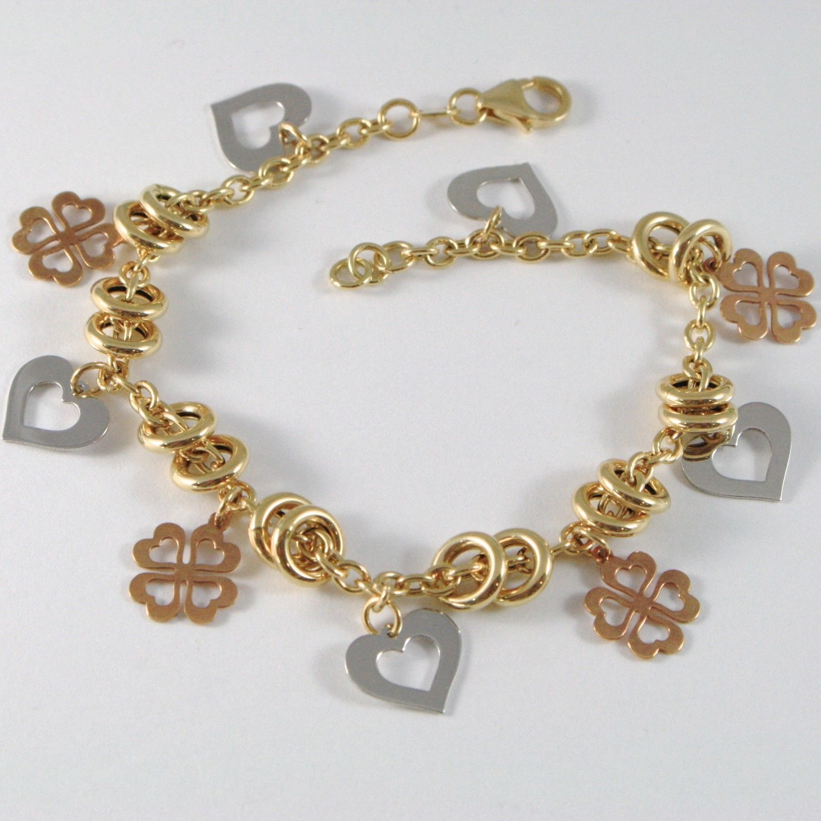18k YELLOW WHITE ROSE GOLD BRACELET, ROLO, CIRCLE, HEART AND FOUR LEAF PENDANT