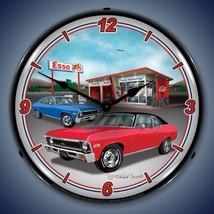 New 1970 Chevrolet Nova car & Esso Gas Station LIGHTED clock Free Ship W... - $129.95