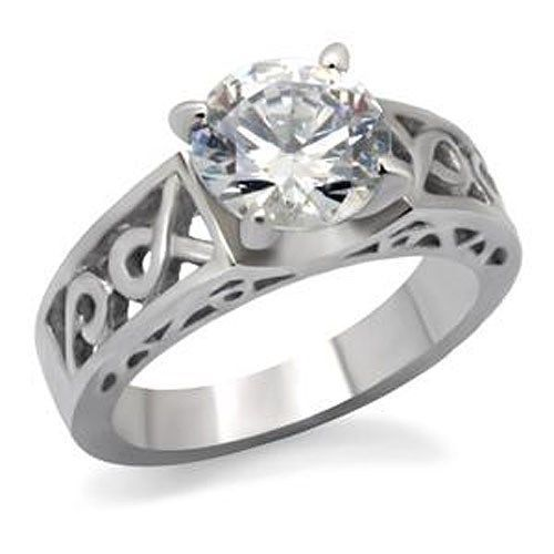 Stainless Steel Round Cut CZ Solitaire Engagement Ring - SIZE 6, 7