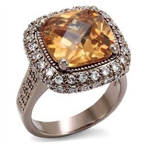 Coffee Gold Tone Big Cushion Cut Champagne Solitaire CZ Ring - SIZE 5, 6, 9, 10