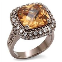 Coffee Gold Tone Big Cushion Cut Champagne Solitaire CZ Ring - SIZE 5, 6, 9, 10 image 1