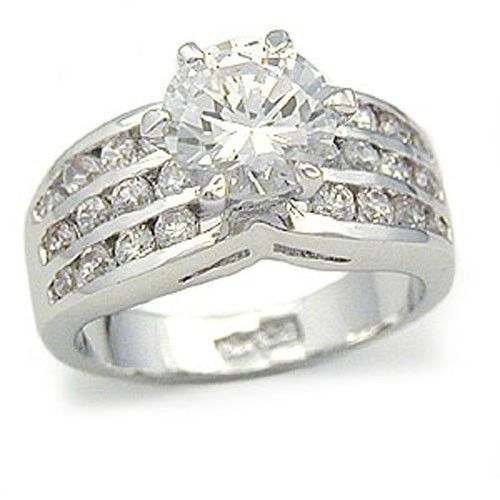 ENGAGEMENT RING - Silver Tone 2 Carat CZ Engagement Ring - SIZE 8,9,10